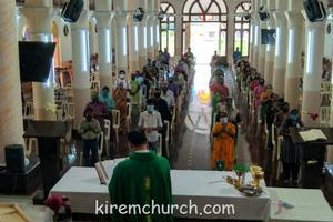 1st Eucharistic celebration after 3 months of lockdown with social distancing sanitizing.