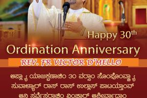 Happy 30th Ordination Anniversary Rev. Fr Victor D'Mello
